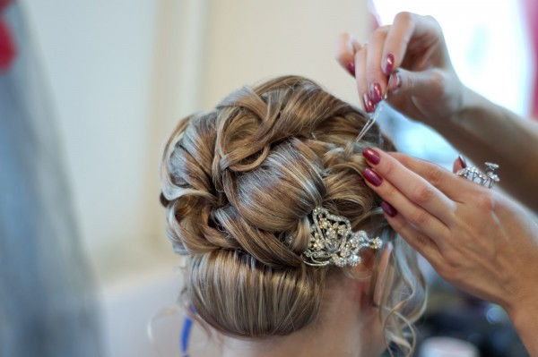 A bride at hairdressing salon befor wedding
