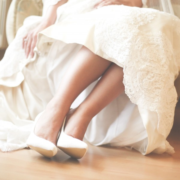 Shoes on a bride during wedding