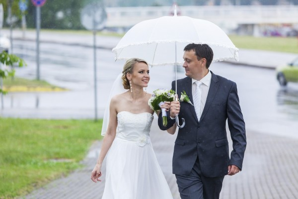 Rain pours on a wedding day