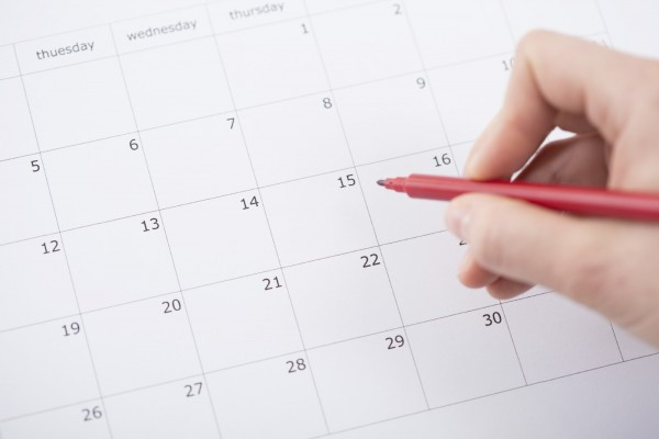 View of month planning in the calendar