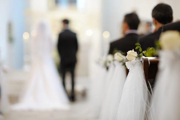 Beautiful flower wedding decoration in a church