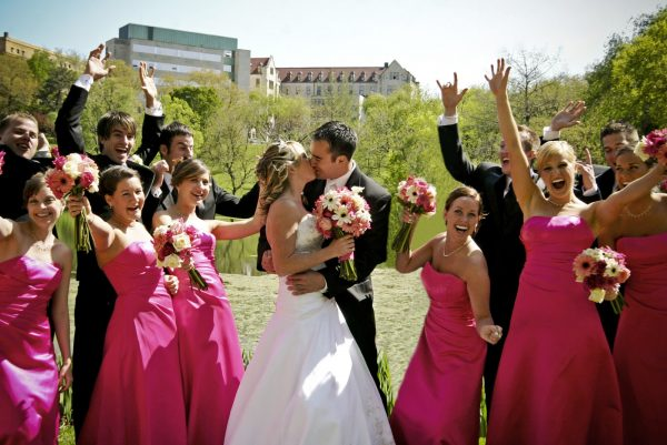 excited wedding party!
