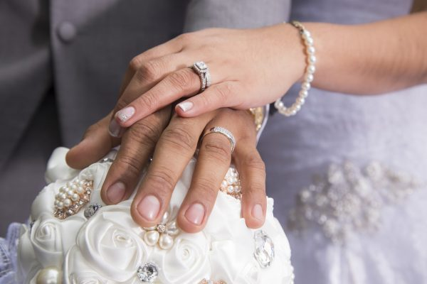 Just married couple showing rings
