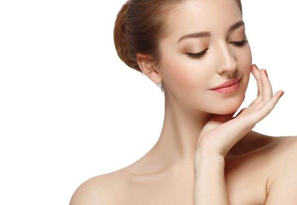 Woman clear skin beautiful face perfect make-up portrait