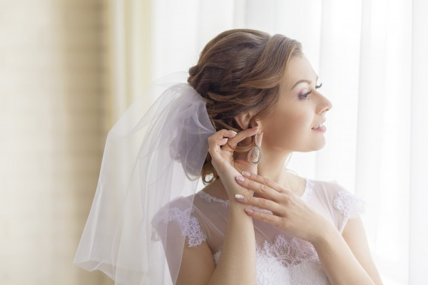 cheerful and gentle charming bride wedding